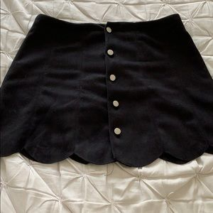 Suede Scalloped Mini Skirt